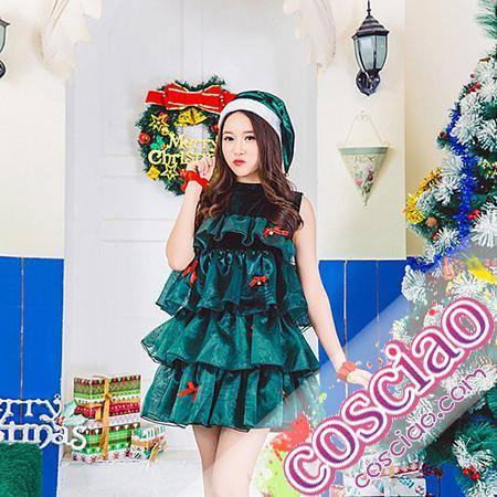 428f5201a7e かわいい サンタツリー風 女性サンタ服 サンタ衣装 緑 クリスマスパーティー 仮装 コスプレ衣装 通販
