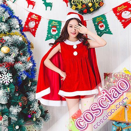 819206598fb クリスマス サンタ衣装 コスプレ サンタコス かわいい マント付き クリスマスパーティー コスチューム