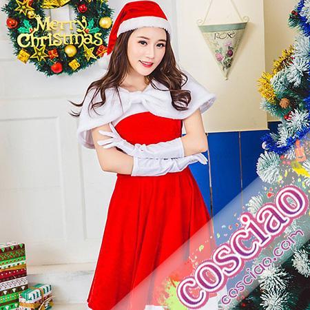 63749680095 サンタコス サンタ衣装 お嬢様風 かわいいサンタ クリスマスコスプレ衣装 サンタ服 帽子付き サンタ仮装